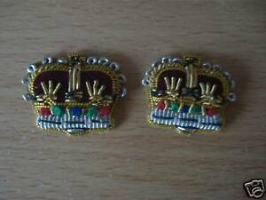 Rank Crowns, Mess Dress, Pair, Officers, Badge, Silver