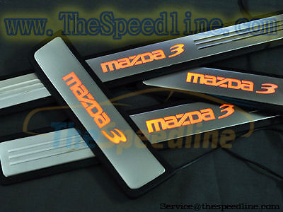 09 10 11 12 13 Mazda3 BL illuminated LED Stainless Steel Scuff Plate BLUE RED