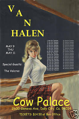 1980's Heavy Metal:  Van Halen at  The Cow Palace Concert Poster  1984