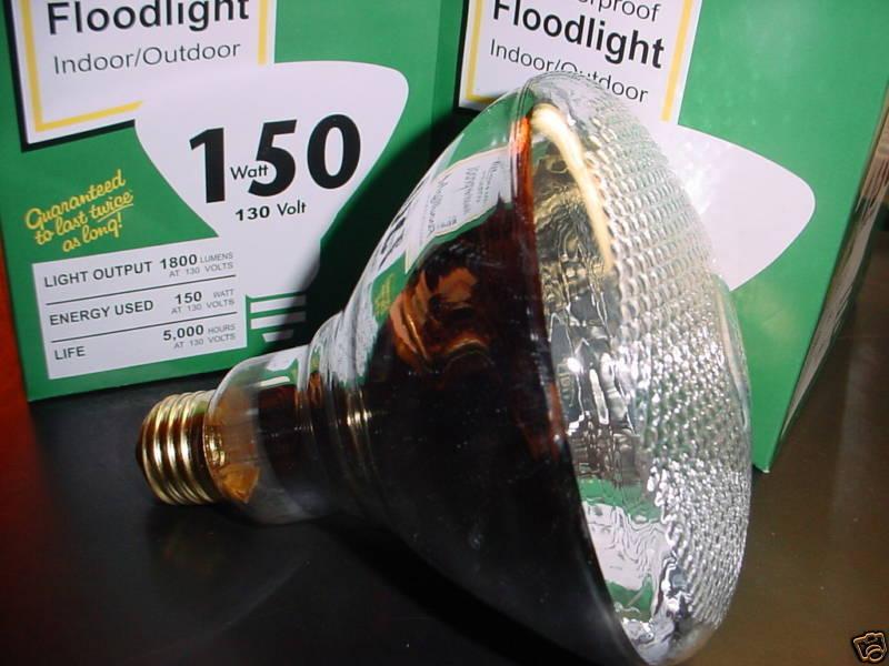 150 Watt Outdoor Flood Light Bulbs Long Life 2 Bulbs