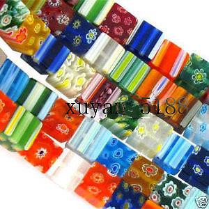 100pc-Mixed-Millefiori-Lampwork-Glass-Beads-Cube-4X4mm