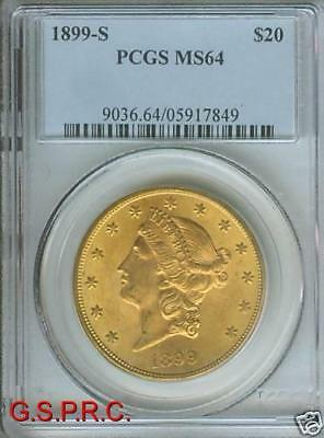 1899 S $20 LIBERTY DOUBLE EAGLE PCGS MS64 MS 64 ONLY FEW HIGHER