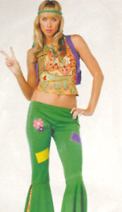 HIPPY-1960s-1970s-Fancy-Dress-Peace-Retro-Green-Trousers-Flares-Size-12-14