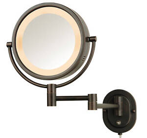 Jerdon-Eclipse-5X-1X-Magnification-Wall-Mounted-Lighted-MakeUp-Mirror-HL65BZ-NEW
