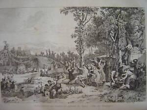 Gravure Probus Gaulois Vignes Fête des vendanges - France - Période: XIXme et avant - France