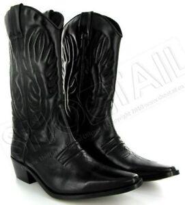 mens calf length leather cowboy boots black size 6 11 ebay