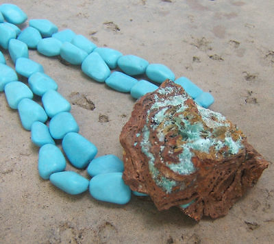 Turquoise Necklace Aqua Sugary Crystal Raw Rusty Geode Druzy Brown Crystal Big