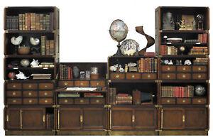 Campaign-Furniture-Desk-Bookcase-Modular-System-4-Set