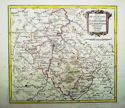 Landkarte um Kassel, Fulda, Marburg Kupferstich 1780