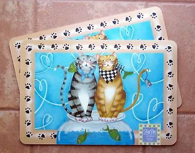 Cat Placemat Set Laminated Meow Pattern Kay Dee