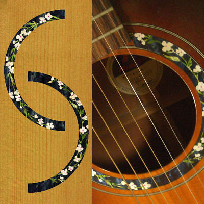rosette flowers inlay sticker decal acoustic guitar combined shipping ok ebay. Black Bedroom Furniture Sets. Home Design Ideas