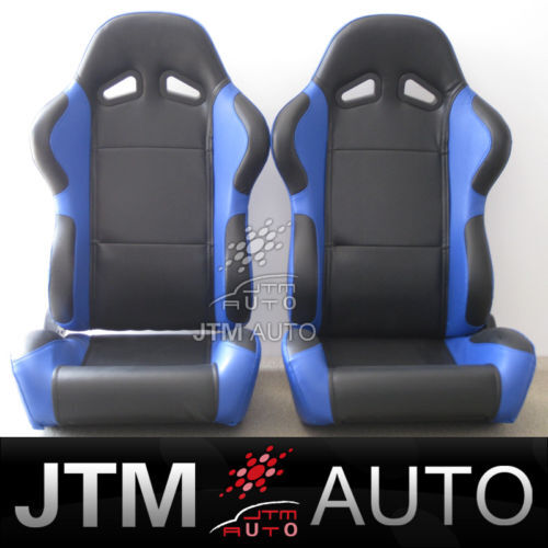 NEW PAIR BLUE PU LEATHER ADJUSTABLE RACING SPORT SEATS FREE SHIPPING