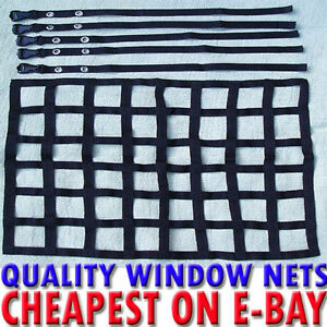 WHITE WEBBING WINDOW NET WITH ALL FITTINGS 4 RACING CAR