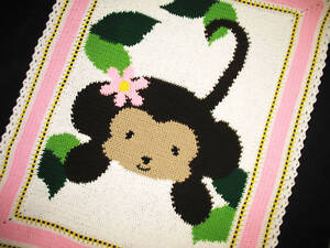 Crochet Patterns Jungle Monkey Baby Girl Afghan Pattern Ebay