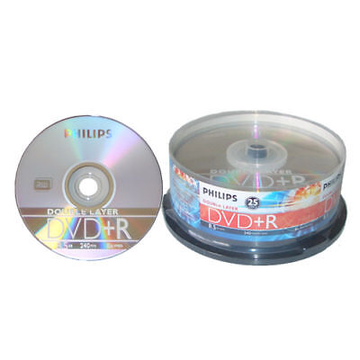 25-pk Philips 8x Dvd+r Double Layer 8.5gb Blank Dl Dual Recordable Media Disk