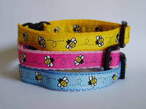 Pink-Blue-Or-Yellow-Bees-Cat-Safety-Collar