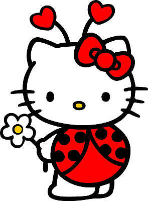 HELLO KITTY LADY BUG DECAL STICKER **FREE SHIPPING**