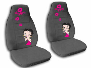 fr rr pink betty boop car seat covers velour charcoal ebay. Black Bedroom Furniture Sets. Home Design Ideas