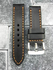 24mm-NEW-COW-LEATHER-STRAP-Black-BAND-Copper-for-LUM-TEC-M51-M47-M44-M43-M33