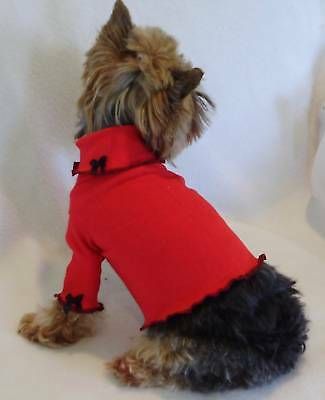 Xxxs Black Trimmed Red Dog Turtleneck Shirt Clothes