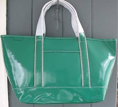 Lands' End PATENT LEATHER Emerald Green Extra Large Shopper Beach ...