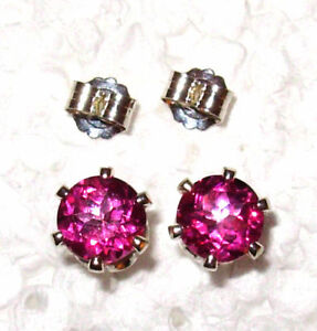 1.25CTW  HOT PINK TOPAZ 5MM ROUND STUD EARRINGS .925 STERLING SILVER