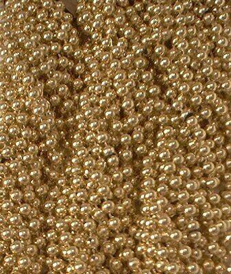 60 Gold Mardi Gras Beads Party Favors Metallic Necklaces 5 Dozen Lot
