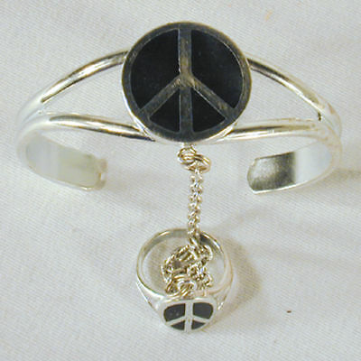 Peace Sign Slave Bracelet 32 Jewelry Item Ring Silver Women Jewelry Set