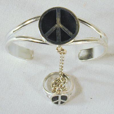 Peace Sign Slave Bracelet 32 Jewelry Item Ring Silver Women Jewelry Set