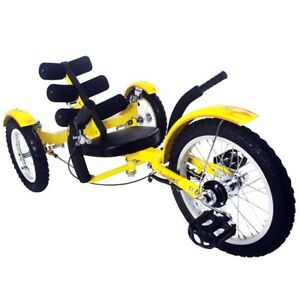 Mobo Mobito 16 3 Wheel Trike Tricycle Recumbent Kid Bike Yellow