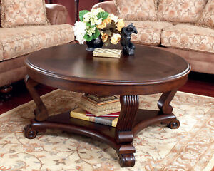 Grandview traditional cherry round cocktail coffee table living room