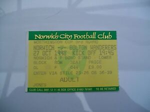 Ticket-Norwich-City-v-Bolton-Wanderers-27-10-1998