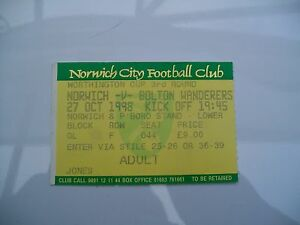 Ticket-Norwich-City-v-Bolton-Wanderers-27-10-1998