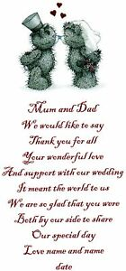 WEDDING THANK YOU GIFT POEM FOR MUM AND DAD