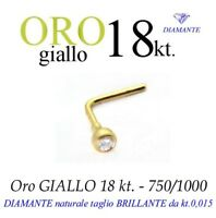 Piercing Naso Nose Oro Giallo 18kt. Con Diamante Kt.0,015 Yellow Gold Diamond -  - ebay.it