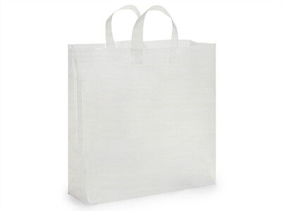 clear Frosted Shopping Gift Bags (50 Jumbo 18x7x19)