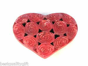 HANDCARVED-RED-ROSE-SOAP-STONE-INDIAN-JEWELRY-BOX-NEW