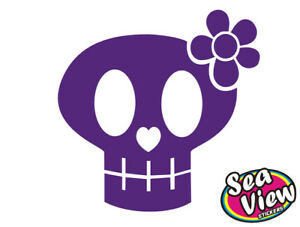 18-x-Skull-Flower-Stickers-Car-Window-Wall-Decals
