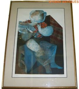 SUNOL-ALVAR-Limited-Edition-Lithograph-PERSONNAGE-ASSIS-Framed-Abstract-Art