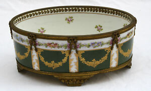 MAGNIFICENT-1900-FRENCH-SEVRES-HAND-PAINTED-ENAMEL-BRONZE-CENTER-BOWL