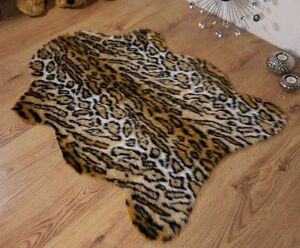 Jaguar-animal-print-faux-fur-sheepskin-rug-70x100cm
