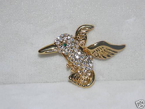 AUSTRIAN CRYSTAL HUMMINGBIRD PIN HUMMINGBIRDS SPARKLE