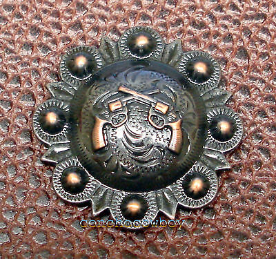 """WESTERN HEADSTALL SADDLE COPPER PISTOLS BERRY CONCHOS 1-1/2"""" screw back"""
