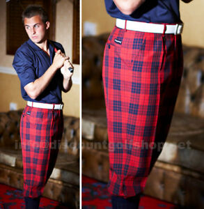 42-WAIST-Stromberg-Golf-Trousers-Funky-Red-Check-PLUS-2s-TWOS