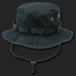 Black-Vintage-Washed-Military-Boonie-Bucket-Fishing-Hunting-Hat-Hats-4-Sizes