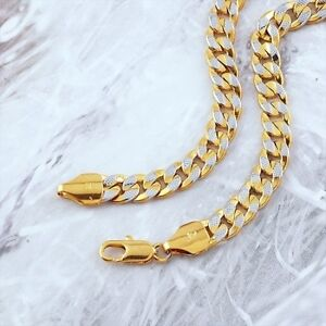 9K GOLD FILLED TWO TONED NECKLACE CHAIN 50CM N19