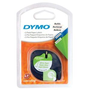 Dymo Letratag Label Maker Tape - Paper White - 2 Pack