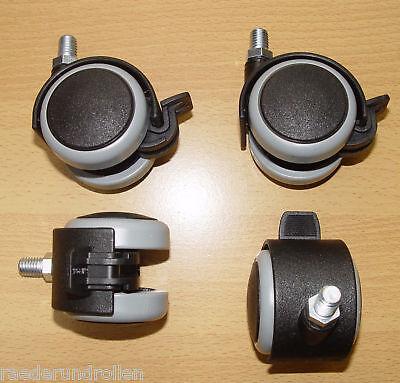 4 x Möbelrolle 50mm Hartbodenrolle Feststellbar Bremse Gummi Gewinde M8x15