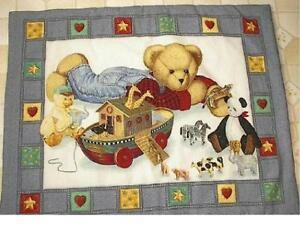 New-baby-crib-quilt-Blue-Jean-Teddy-Bear-Noahs-Ark