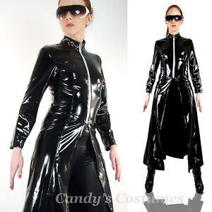 Long black vinyl trench coat